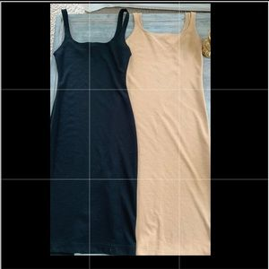 Two Zara bodycon dresses tan & black